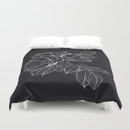 Chalked Roses - Black and White Modern Florals Duvet Cover