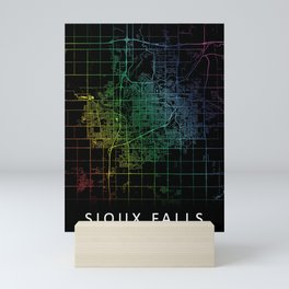 Sioux Falls, SD, USA, City, Map, Rainbow, Map, Art, Print Mini Art Print