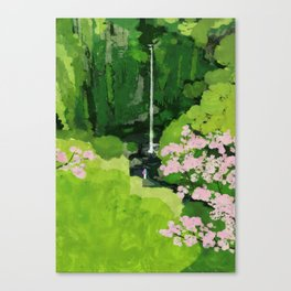 The Urami fall and cherry blossoms Canvas Print