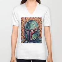 boba V-neck T-shirts featuring BOBA FETT by M. Ali Kahn