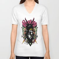 evil V-neck T-shirts featuring EVIL by DON'T NEED NO SAMURAI