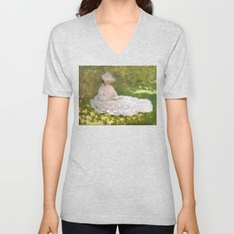 Springtime by Claude Monet Unisex V-Neck