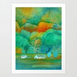 Green landscape Art Print