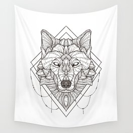 Geometric Wolf Wall Tapestry