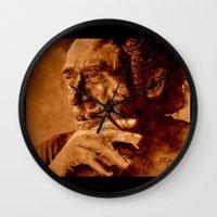 bukowski Wall Clocks featuring Charles Bukowski - love version by ARTito