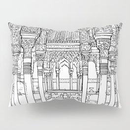 Alhambra palace, Granada, Andalucia - Spain-Black & White Pillow Sham
