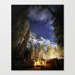 Half Dome Village Yurts Under the Stars in the Winter Canvas Print