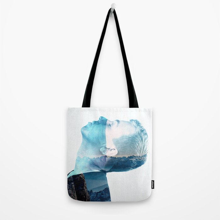 double exposure Face Tote Bag