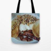 breakfast Tote Bags featuring Breakfast by Gurevich Fine Art