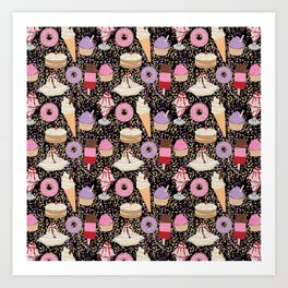 Sweet treats pattern with ice cream and doughnuts, donuts Art Print