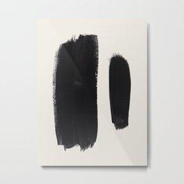 Mid Century Modern Minimalist Abstract Art Brush Strokes Black & White Ink Art Brush Strokes Metal Print