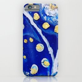 Ultramarine Blue and Gold Acrylic Painting iPhone Case