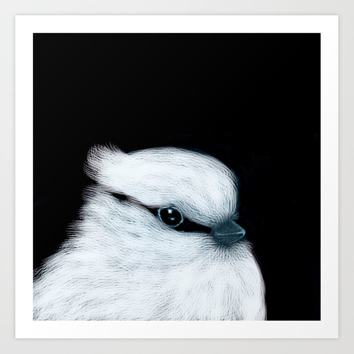 White Bird Black Background #decor #society6 #buyart Art Print