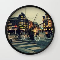 bicycles Wall Clocks featuring Bicycles - Amsterdam by Lisamce
