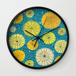 Retro Teal and Yellow Swirl Pattern 1960's Wall Clock
