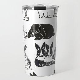 Black and White Bunnies Travel Mug