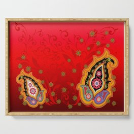 red jewel paisley border Serving Tray