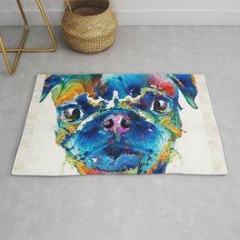 Colorful Pug Art - Smug Pug - By Sharon Cummings Rug