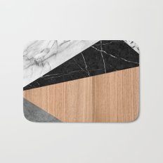 Marble, Garnite, Teak Wood Abstract Bath Mat