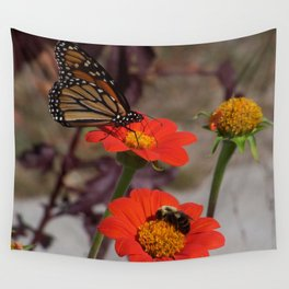Bumble Bee and Monarch Butterfly on Red and Yellow Flower Wall Tapestry