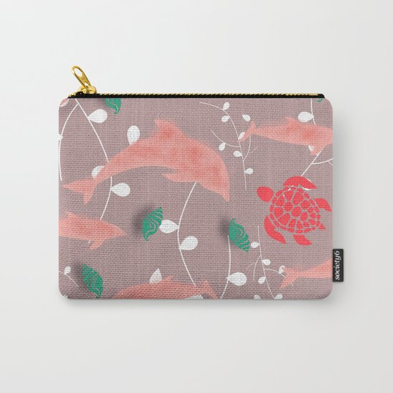 Dolphin old pink Carry-All Pouch