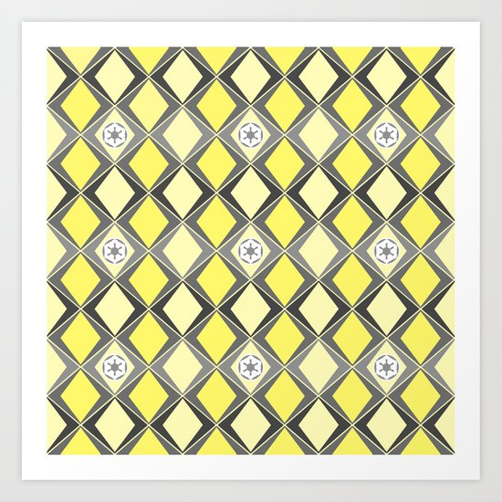 Star Wars Imperial Print in Gray and Yellow Art Print