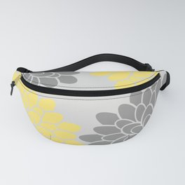 Big Grey and Yellow Flowers Fanny Pack