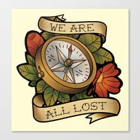 compass Canvas Prints featuring Compass by hvelge