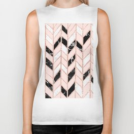 Rose gold glitter chevron herringbone black white marble pattern Biker Tank