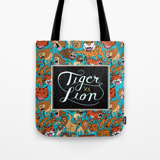 Tiger VS. Lion Tote Bag