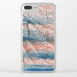 Brown blue streaked abstract Clear iPhone Case