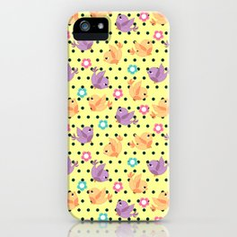 Freely Birds Flying - Fly Away Version 2 - Daffodil Color With Charcoal Dots Color iPhone Case