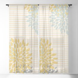 Floral and Stripes Pattern, Yellow, Gray Aqua Sheer Curtain
