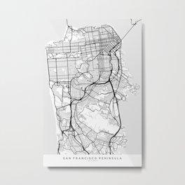 Scandinavian map of San Francisco Penninsula Metal Print