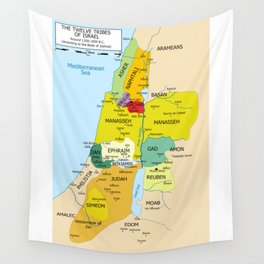 Map of Twelve Tribes of Israel from 1200 to 1050 According to Book of Joshua Wall Tapestry