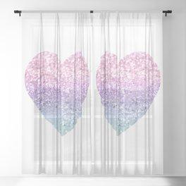 Unicorn Girls Glitter Heart #1 #shiny #pastel #decor #art #society6 Sheer Curtain