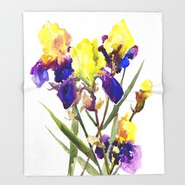 Garden Irises Floral Artwork Yellow Purple Blue Floral design Throw Blanket