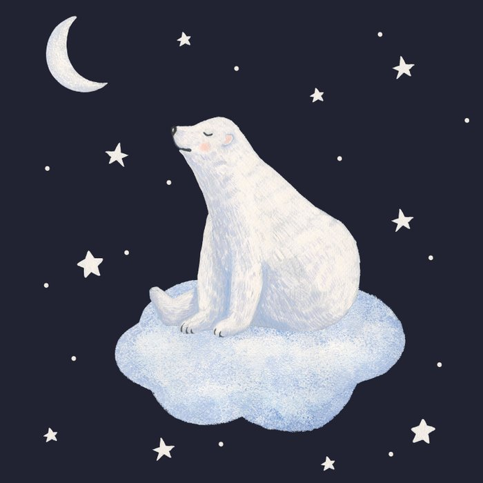 white bear on the cloud Comforters