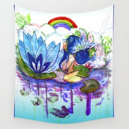 The blue lily water Wall Tapestry
