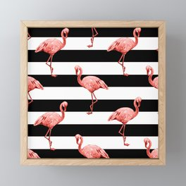 Living Coral Flamingo Stripes Framed Mini Art Print