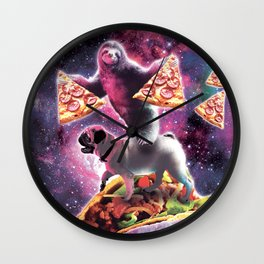 Space Sloth With Pizza On Pug Riding Taco Wall Clock