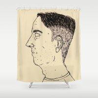 no face Shower Curtains featuring Face by Darren Saint Darren