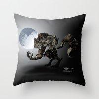 werewolf Throw Pillows featuring Werewolf by Michelena