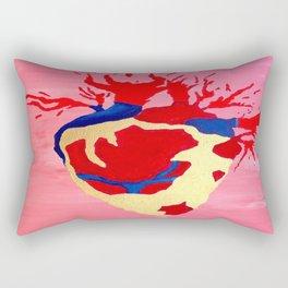 Cool Golden Heart Original Painting On Canvas Rectangular Pillow