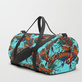 rooster ink turquoise Duffle Bag