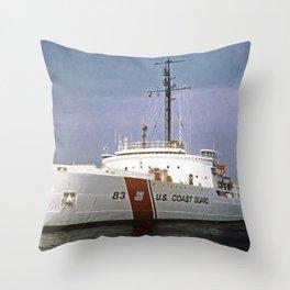 USCG Vintage Mackinaw 83 Icebreaker Throw Pillow