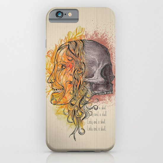 Lady and a skull iPhone & iPod Case