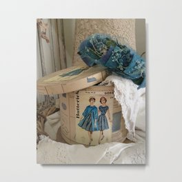 Retro Fashion Blue  Metal Print