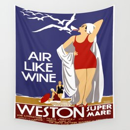 Vintage Weston Super Mare England Travel Wall Tapestry