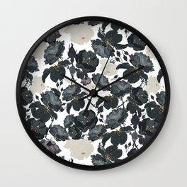 Hand drawn bohemian black and white roses glitter pattern Wall Clock